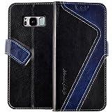 elephones Handy Hülle Samsung Galaxy S8 Hülle mit Kartenfächer Standfunktion Geldscheinfach Magnetverschluss Handy Tasche Samsung Galaxy S8 Schutzhülle Flip Case Cover Schwarz