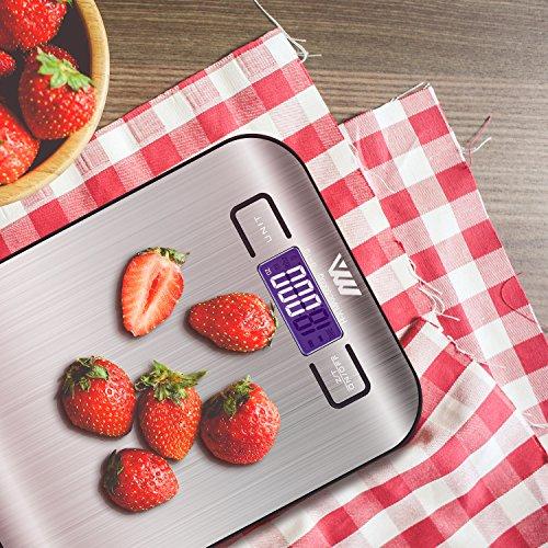 ADORIC Bilancia Digitale da Cucina, Bilancia Digitale Elettronica da Cucina con Alimenti 5kg/11lb e Acciaio Inossidabile(Argento) - 6