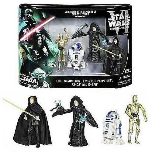 Star Wars DVD Commemorative Action Figure Pack Episode VI (6) Return of the Jedi w / Luke, C-3PO, R2-D2 & Emperor. RARE by Hasbro