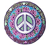 Titan One Europe - Peace Sign Daisy Flowers Hippie Símbolo De La Paz Parche Bordado...