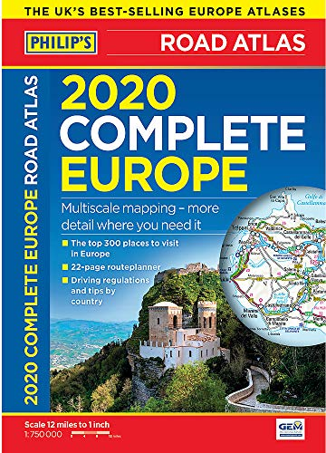 Philip's Complete Road Atlas Europe 2020 A4: (A4 with practical 'flexi' cover) (Philips Road Atlas)
