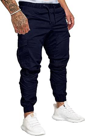 SOMTHRON Pantaloni Cargo Uomo con Coulisse in Cotone Tasche Laterali Trousers della Pantaloni di Sport da Jogging Activewear Pantaloni Uomo Cintura Elastica Casual Street Pantaloni