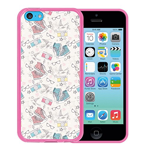 iPhone 5C Hülle, WoowCase Handyhülle Silikon für [ iPhone 5C ] Mondrian Stil Rechtecke Handytasche Handy Cover Case Schutzhülle Flexible TPU - Rosa Housse Gel iPhone 5C Rosa D0038