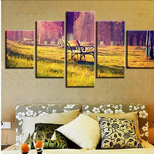 Hjcmhjc (nessuna cornice) immagini decorazionemoderna hd stampa 5 pezzi sedia a sdraio e alberi sunshine scenery pittura wall art canvas poster modulare
