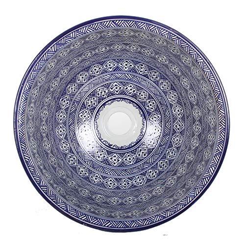 Mediterrane Keramik-Waschbecken Fes98 rund Ø 40 cm bunt Höhe 18 cm Handmade Waschschale | Marokkanische Handwaschbecken Aufsatzwaschbecken für Bad Waschtisch Gäste-WC | TOP Dekoration