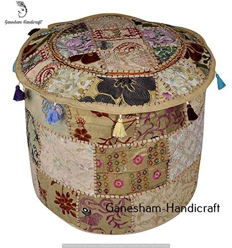 Baumwolle Runde Osmanischen (Handgefertigt Weihnachten Deko Bohemian osmanischen Patchwork osmanischen indischen bestickt indischen Vintage Baumwolle rund Pouf Fuß Hocker, Sitzgelegenheit Pouf Polsterhocker, Vintage Ottoman Bohemian Decor)