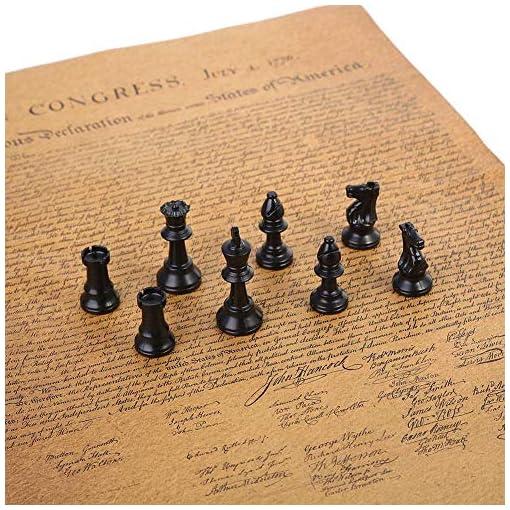 Keenso-Schachfiguren-Set-Schachfiguren-Set-aus-Kunststoff-Internationales-Schachspiel-Komplettes-Schachfiguren-Set-mit-Fusselpolster-Schwarz-Wei