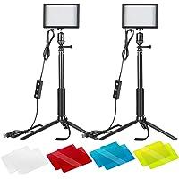 Neewer 2 Packung Dimmbares 5600K USB-LED-Videolicht mit verstellbarem Stativ Farbfilter für…