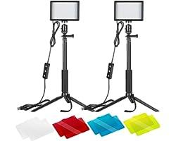 Neewer 2-Pack Luz LED Video 5600K Regulable con Soporte Trípode Ajustable/Filtros de Color para Tablero de Mesa/Angulo Bajo,I