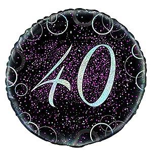 Unique Party Globo foil de 40 cumpleaños Color rosa metálico brillante 45 cm 55796