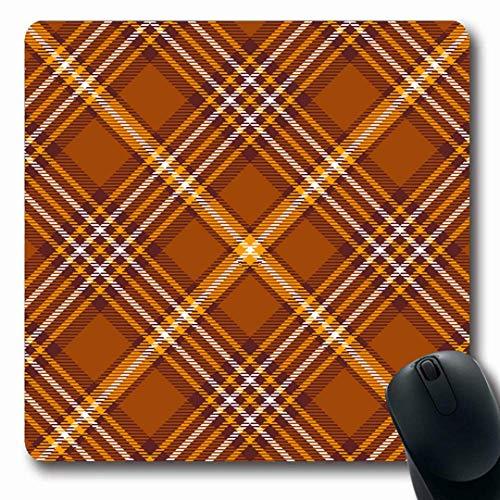 Luancrop Mousepads Checker Brown Grenze Tartan Plaid Muster Checkered Flanell Orange Check Diagonal Design rutschfeste Gaming Mouse Pad Gummi Oblong Mat Diagonale Checker