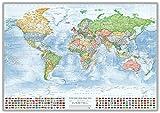J.Bauer Karten Bacheca con telaio in alluminio: Mappa politica del mondo, 100x70 cm, con bandiere, in inglese, edizione 2017