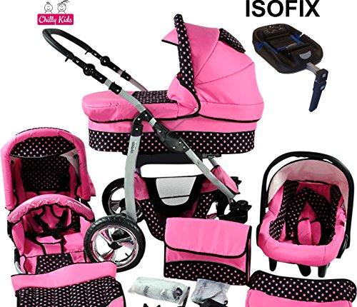 Chilly Kids Dino Kinderwagen Safety-Sommer-Set (Sonnenschirm, Autositz & ISOFIX Basis, Regenschutz, Moskitonetz, Getränkehalter, Schwenkräder) 45 Rosa & Rosa Punkte