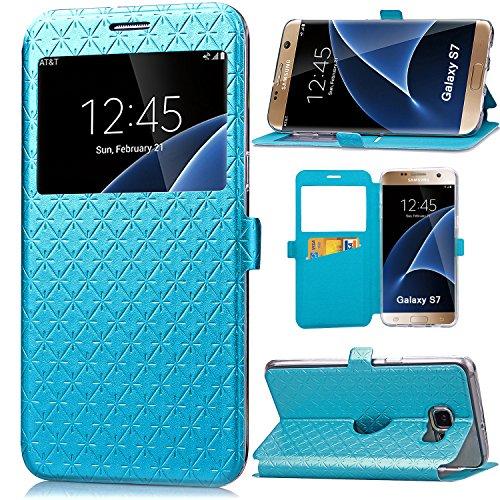 ARTMINE S7Fall, Galaxy S7Fall, Gesteppt Uni Farbe Fenster View Funtkion PU Leder Flip Folio Book Style Kartenfach Ständer Geldbörse Handyhülle für Samsung Galaxy S7, Blau - Mädchen Gesteppte Geldbörse