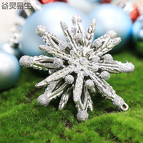 ZHUDJ Weihnachten Glänzend Flyer Netsuke Schwarz Weihnachtsbäume Hängen Christmas Ball 2 Nur Die Silber Flyer