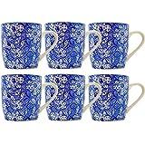 Tee-/Kaffeebecher - Blumenmuster - Blau & Weiß - 280 ml - 6 Stück