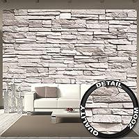 Foto mural White Stonewall – Tapiz de piedra 3D Piedra Muro Decoración de pared Óptica de piedras blancas Pared de piedras Muro de piedras I foto póster deco pared by GREAT ART (336 x 238 cm)