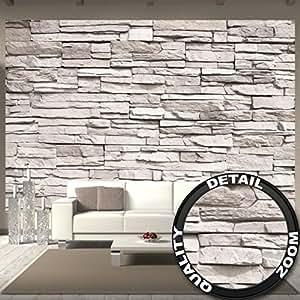 Great art fototapete white stonewall wandbild dekoration for Carta da parati effetto muro finta pietra
