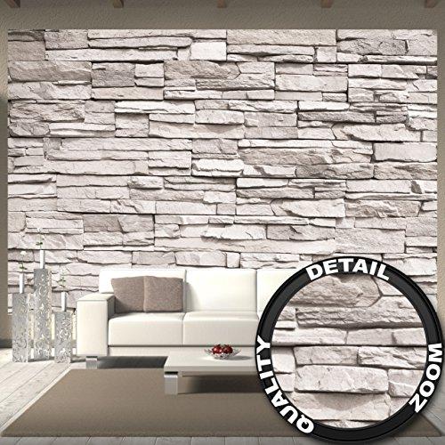 Fototapete White Stonewall Wandbild Dekoration Steintapete 3d Stein Mauer Wandverkleidung Steinoptik weiß Steinwand Steinmauer | Foto-Tapete Wandtapete Fotoposter Wanddeko by GREAT ART (336 x 238 cm)