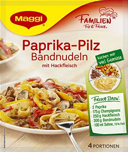 Pilz Fix (Maggi Familien fix & frisch Paprika-Pilz Bandnudeln mit Hackfleisch, 42 g Beutel, ergibt 4 Portionen)