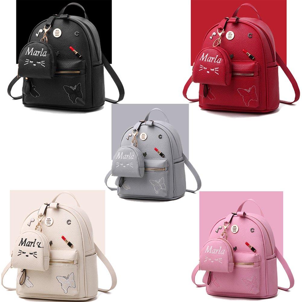 b69eb5be48 Flada ragazze zaino PU in pelle borse scuola zainetto carino bookbag borsa  con piccolo gatto portafogli