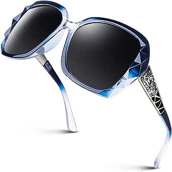 GQUEEN Occhiali Oversize Da Donna Quadrata con Glitter Multi-color Occhiali da Sole alla Moda S904