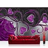 Vlies Fototapete 312x219cm PREMIUM PLUS Wand Foto Tapete Wand Bild Vliestapete - Ornamente Tapete Rose Herzen Blume Blüte Schnörkel Liebe lila - no. 1451