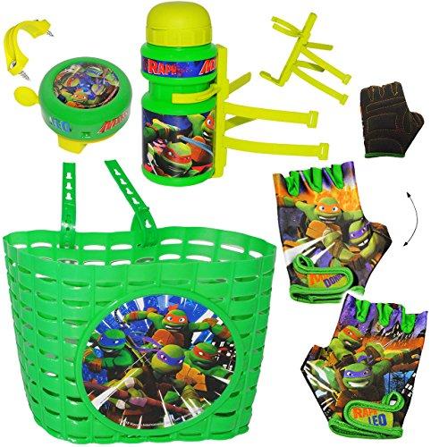 alles-meine.de GmbH 5 TLG. Set _ Fahrradkorb & Fahrradtrinkflasche & Fahrradklingel & Fahrradhandschuhe -  Teenage Mutant Ninja Turtles  - Korb mit Befestigung - Fahrrad Kinder..