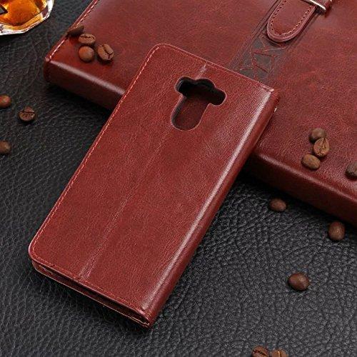 XIAOMI Case Cover Xiaomi Hongmi 4 Fall-Abdeckung, Normallack-erstklassiger Retro horizontaler Schlag-Standplatz-Fall-Mappe mit Karte Bargeldschlitze für Xiaomi Hongmi 4 ( Color : Rose , Size : Xiaomi  Brown