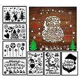 LANMOK 16Stk Spray Schablonen Groß Zeichenschablonen Weihnachten Fenster Weihnachtsmann Schneeflocken Deko Stanzschablone (17.8x26cm)