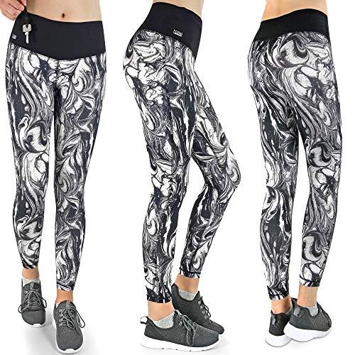 Formbelt® Damen Sport-Leggings schwarz weiß mit Tasche lang - Sport-Hose Leggins hüfttasche für Smartphone iPhone Handy Schlüssel (Cream L)