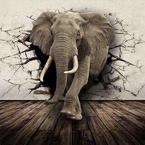 HNSD Fondos de pantalla personalizados Animales realistas Mural de pared Rinoceronte Elefantes...