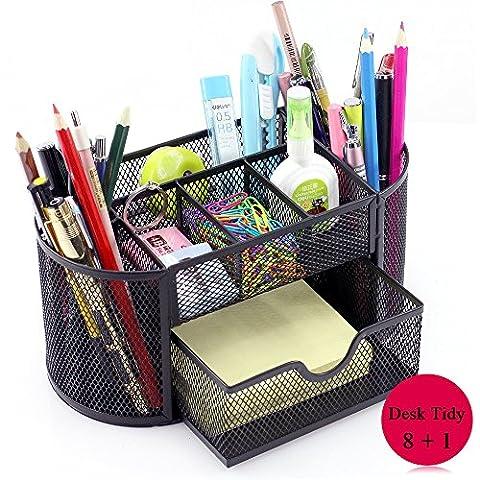 Vonimus Schreibtisch Tidy, Tisch-Organizer / Mesh Spezifische Caddy Schreibtisch Organizer Set Büro Tidy Organizer Metall Bleistift Topf Bleistift Halter (schwarz)