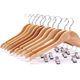 Sajani Wooden Suit Hangers with Anti-Rust Pant Clips,Pack of 12