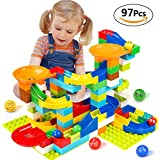 Victostar Marble Run Building Blocks Construction Toys Set Puzzle Race Track For Kids 97 Pieces