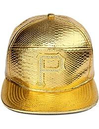 MCSAYS Hombre Gorra de béisbol hebilla de cinturón de cuero de la PU plana  de ala del sombrero del Snapback Carta… 8238ab03f75