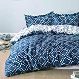 Bedsure Funda nordica Cama 150/135cm Azul Marino - Fundas edredon 230x220cm con 2 Fundas de Almohada 50x80cm 3 Piezas - Muy Suave Microfibra con patrón a Cuadros