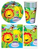 GCC Fashion Store Jungle Safari Animal 16 Plates Cups Serviettes 1x Tablecloth Kids Party Tableware Set
