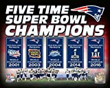 New England Patriots 5 Time Super Bowl Champions Banners Photo Print (50,80 x 60,96 cm)