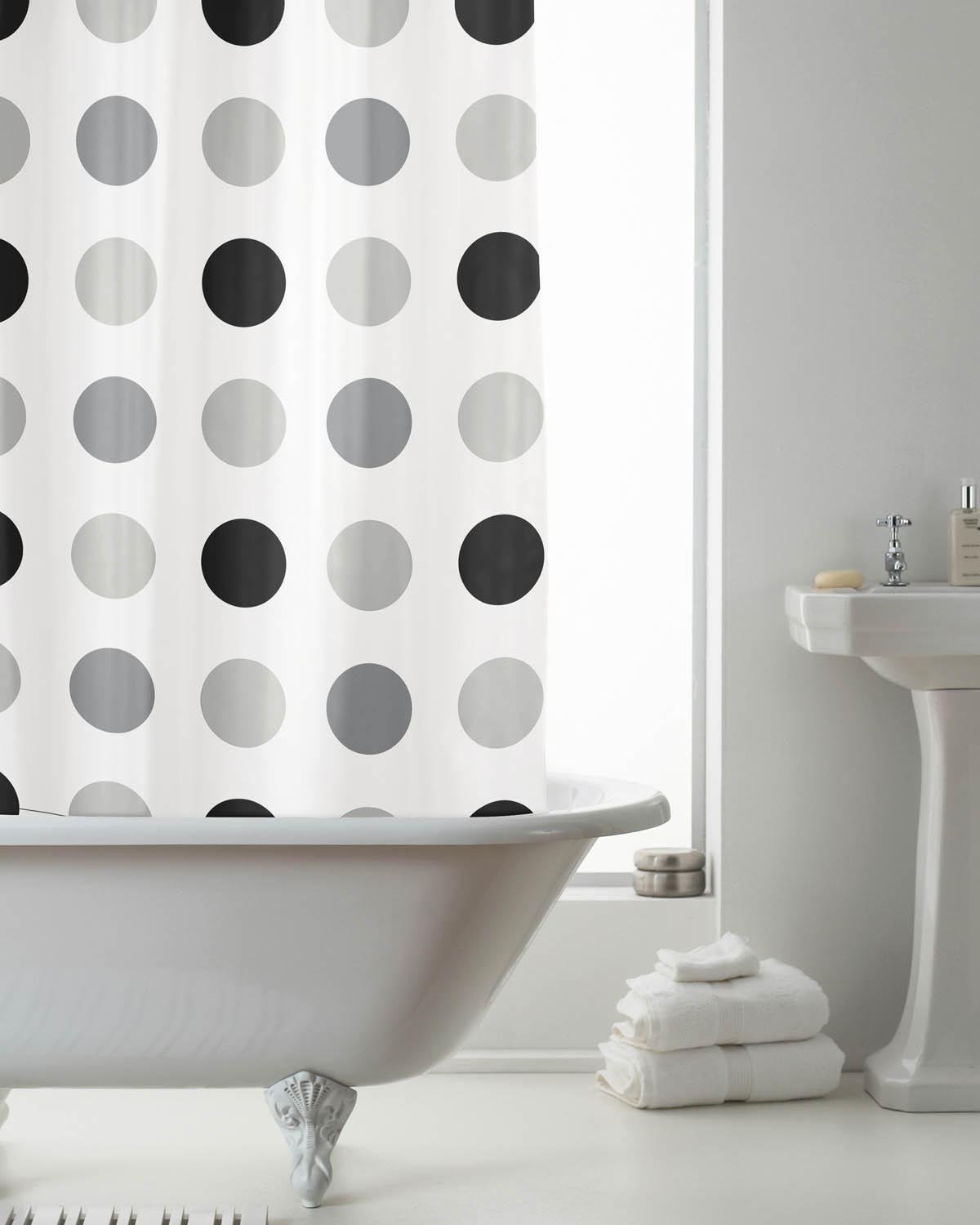 Grey And White Curtains Uk Part - 33: PEVA Shower Curtain Mono Spots Grey/Black By Beamfeature: Amazon.co.uk:  Kitchen U0026 Home