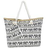 Sac de Plage Vacances Fourre-Tout Grand Avec Zip, ZWOOS Pochette sac à Main Sac de Shopping Pour Femme et Filles (Éléphant)