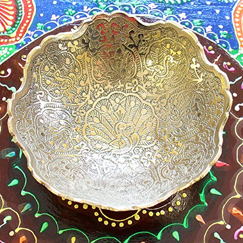 Skywalk Hand Crafted Metal Fruit Bowl with MINAKARI Work for Serving, Art, Perfect for Home Decoration and Gifting, Size :4 Inch, Brass