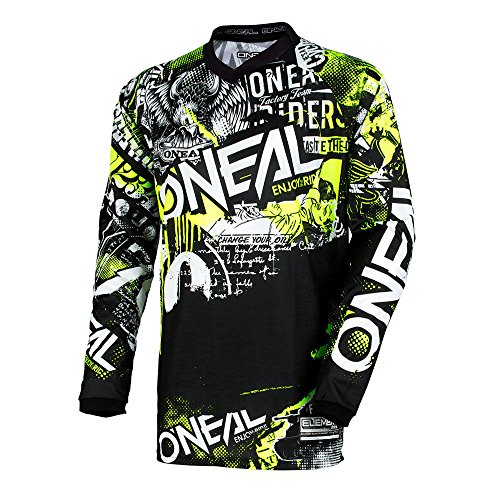 Oneal Element Attack Motocross Jersey Cross Offroad Enduro Downhill Schwarz Gelb (M)
