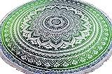 Guru-Shop Rundes Indisches Mandala Tuch, Tagesdecke, Picknickdecke, Stranddecke, Tischdecke - Grün, Baumwolle, Bettüberwurf, Sofa Überwurf