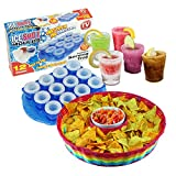 Simpa® Large 15inch Chip & Dip Basket Bowl and 12 x Frozen Ice Shot Glass Moulds - Mexican Themed Party Decorations - Ideal for BBQ's, Birthday Parties, Cinco De Mayo, Fiestas and Celebrations