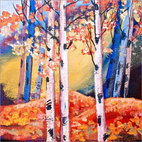 Posterlounge Forex-Platte 120 x 120 cm: Birken im Herbst von Mauritius Images