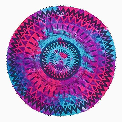 Pareo redondo 180 cm diametro 100 % algodón Pom-pom