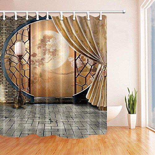 cdhbh asiatischen Vorhänge Dusche für Badezimmer chinesischen Kultur Pfingstrose auf alten Bildschirm mit Polyester-Brick Mauer Hinter Vorhang-Bad Vorhang Vorhang für die Dusche Haken 180x180cm