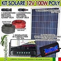Kit solare 100W Fotovoltaico 12V Policristallino con Regolatore PWM 10A 12V + Connettori MC4 + (Regolatore Connettore)