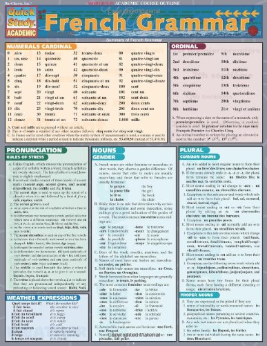 French Grammar Laminate Reference Chart (Quickstudy: Academic)